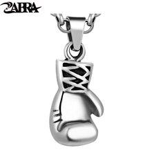 ZABRA 925 Esterlina Sólida Prata Legal Luva de Boxe Colar & Pendant para Mulheres Dos Homens Do Esporte Da Aptidão de Jóias Pingente de Acessórios