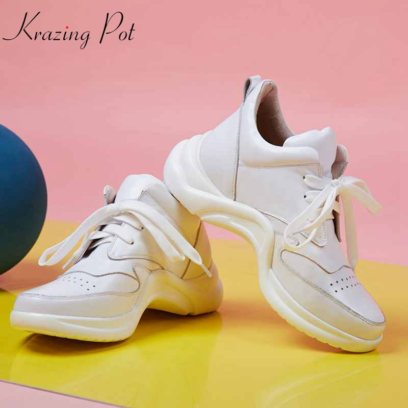 Krazing Pot genuine leather hollow platform Oxfords superstar breathable round toe lace up white sneakers vulcanized