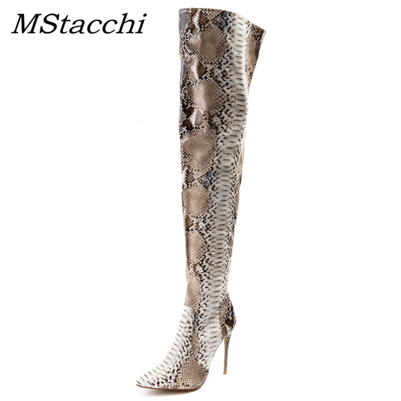 MStacchi Snakeskin Women Boots New Fashion Pointed Toe High Heel Over The Knee Boots Women Sexy Snake Print Print Runway BootsMStacchi Snakeskin Women Boots New Fashion Pointed Toe High Heel Over The Knee Boots Women Sexy Snake Print Print Runway Boots