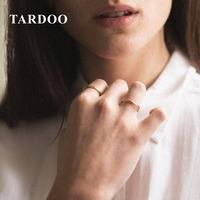 Tardoo Double Cross Circle Rings 925 Silver Simple Round Circle Party Rings Golden Color Cute Round Rings Fine Jewelry For Women