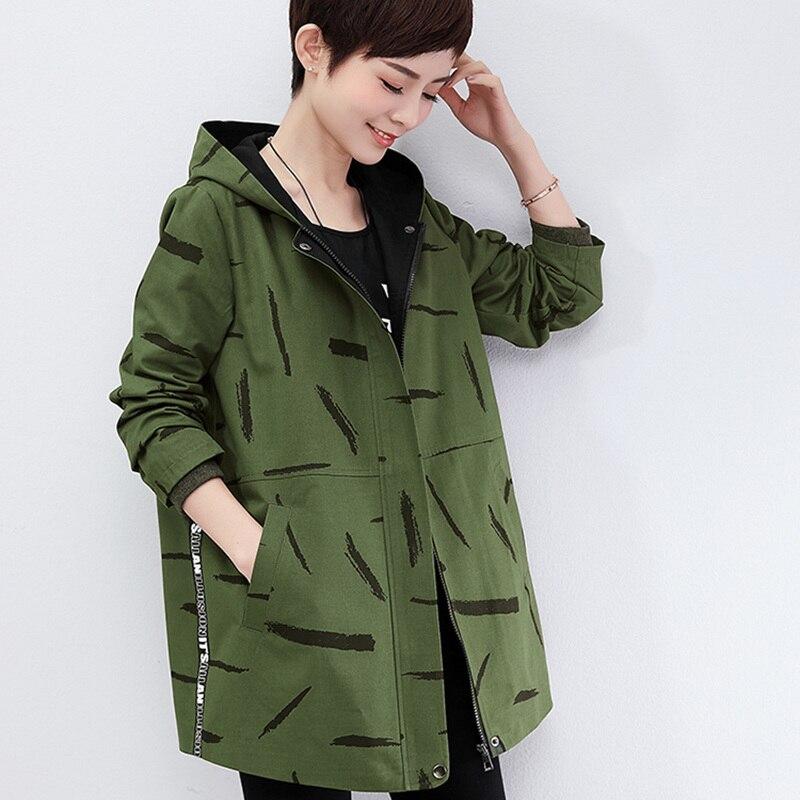 Mode Coton Manteaux Veste Vêtements Armée Femmes Nouvelle Kaki Casual Capuchon Femme Dames 2 Arrivée Vert Automne À Printemps 97 Survêtement 1 3 n8fwwz5aqx