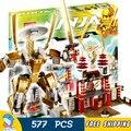 577 шт. Новый Bela 9795 Храм Света Dojo Строительные Блоки Устанавливает Золотой Ниндзя Классические Игрушки Кирпичи Совместимы с Lego