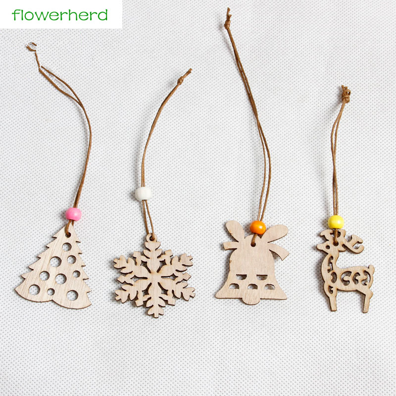 8pcs/lot Wooden Christmas Pendant Snow Bell Elk Tree Christmas Decoration Christmas Tree Pendant New Year Decorative for Home