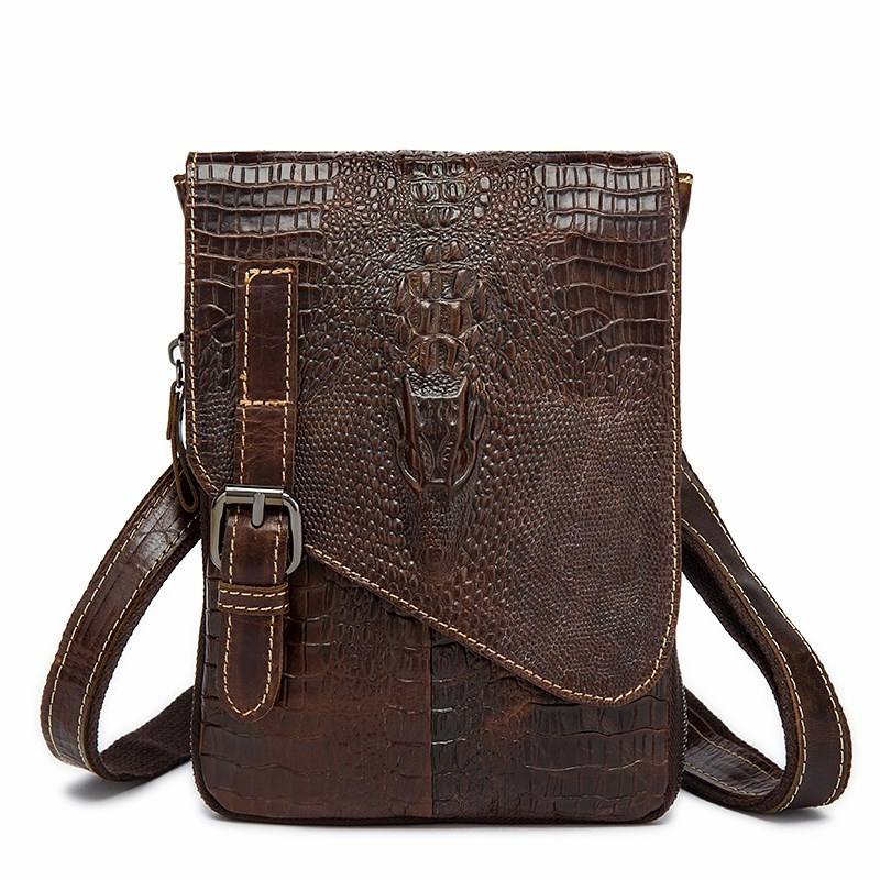 Crocodile Pattern Men Bag High Quality PU Leather Briefcase For Teenage Boys Fashion Shoulder Bag Daily Classic Crossbody Bag