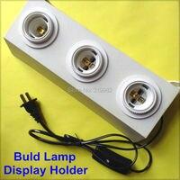 E27 lampada buld supporto dell'esposizione 3 teste e27 vite luci presa di prova adattatore di base con interruttore cavo mostra mostro holder