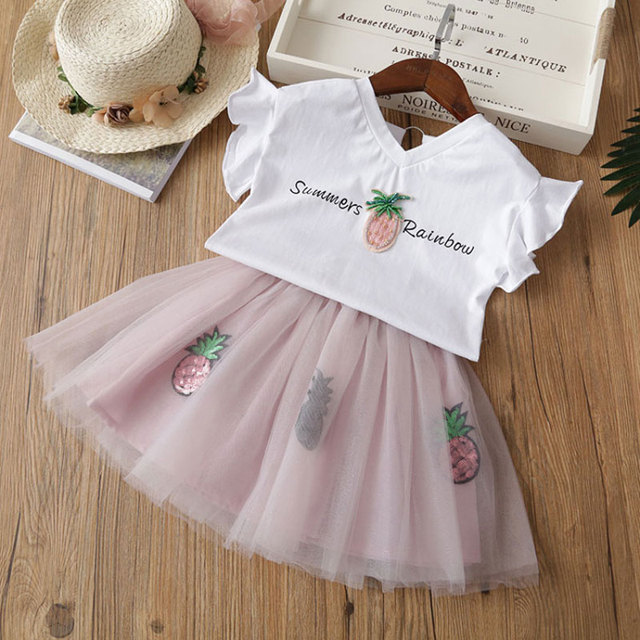 Fashion Kids Summer Clothes Boutique Girls Clothing Pineapple T Shirt And Sequin Skirt Toddler Girl