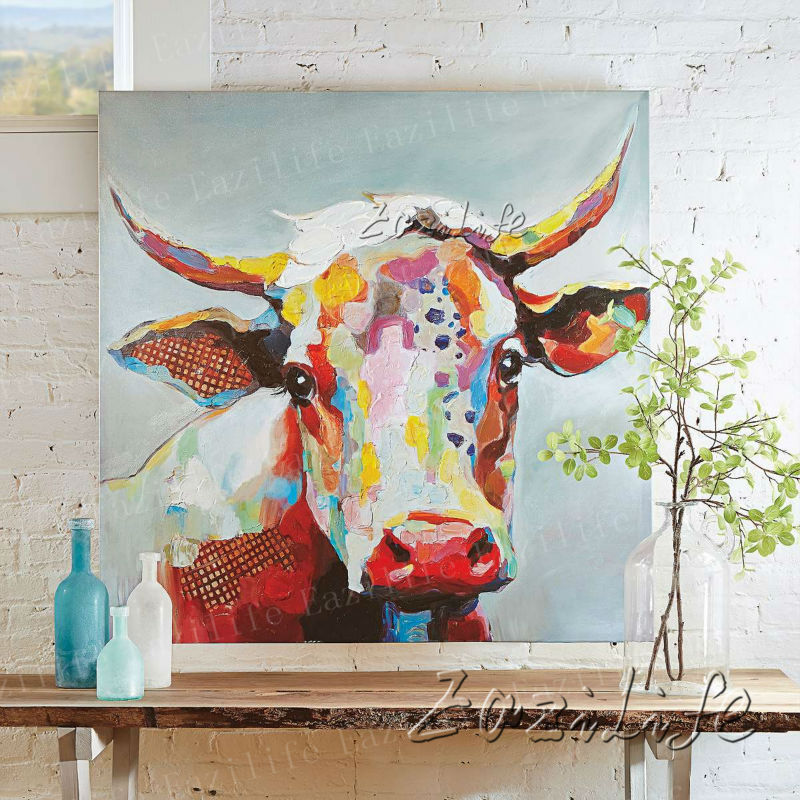 Buy cow oil painting on canvas wall art for Buy mural paintings