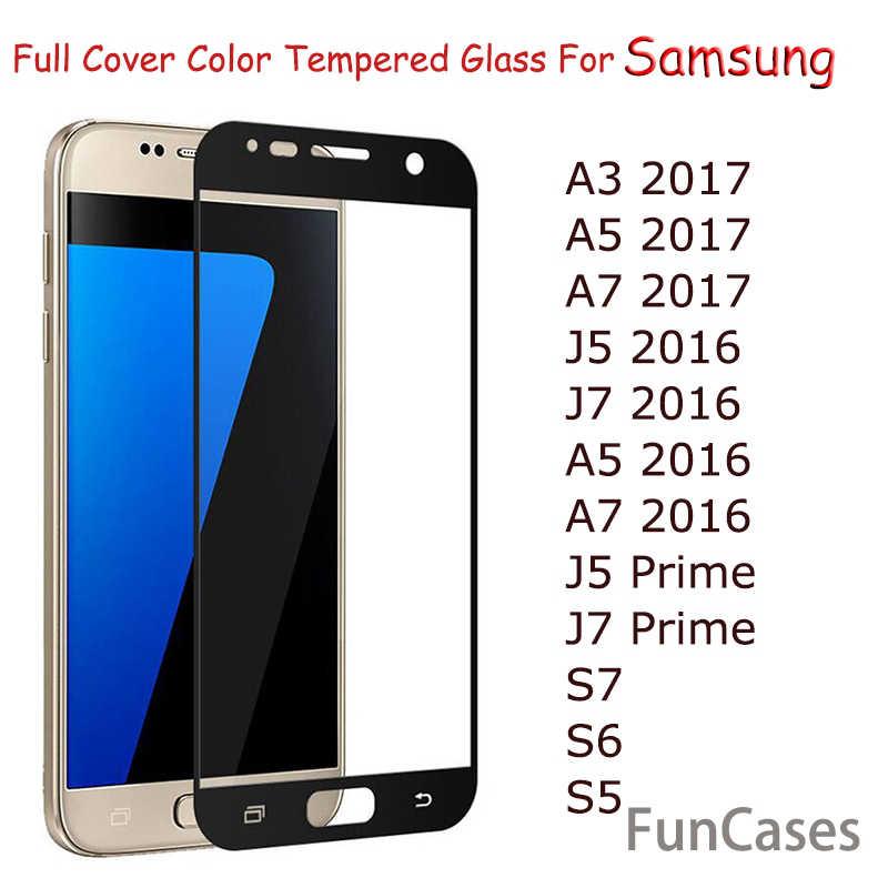 غطاء كامل من الزجاج المقسى لهاتف سامسونج جالاكسي A8 J2 2018 A3 A5 A7 J3 J5 J7 2017 2016 S7 S6 J5 Prime J7 Prime واقي للشاشة
