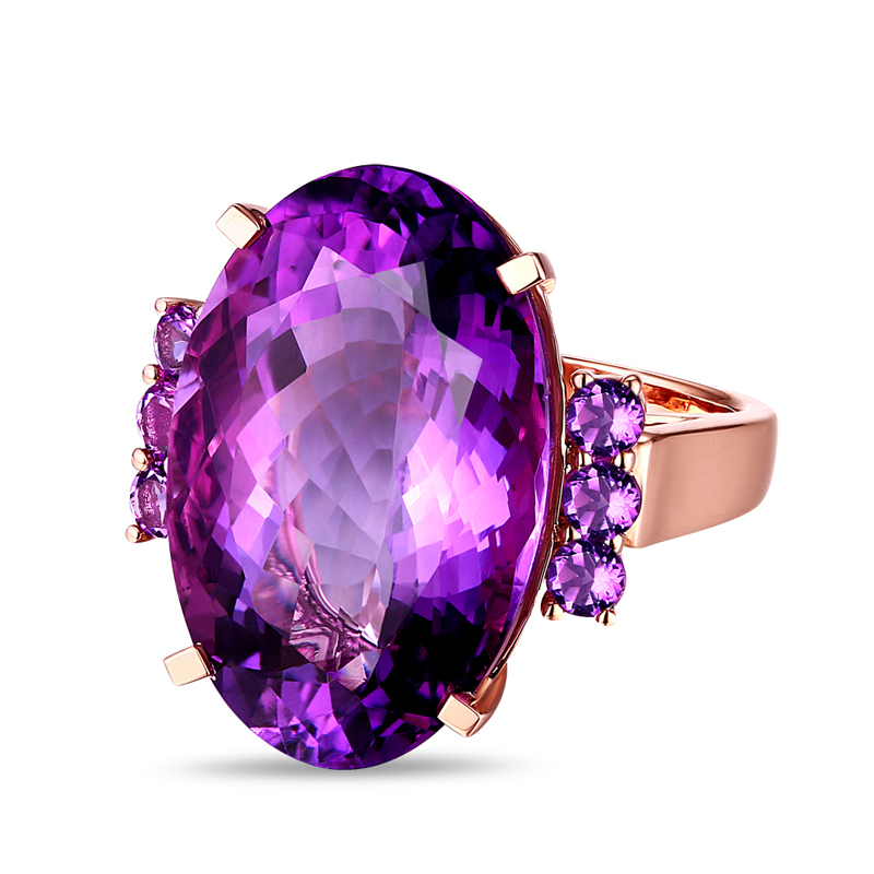 Free shipping Unplated 18k Gold 21.30ct Amethyst Engagement Ring Classic Style