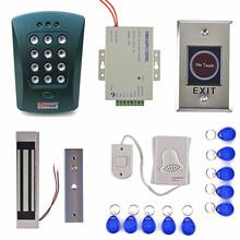 Door Bell Button+180kg Magnetic Lock 125KHz RFID ID Card Reader Password Keypad Access Control System Security Kit