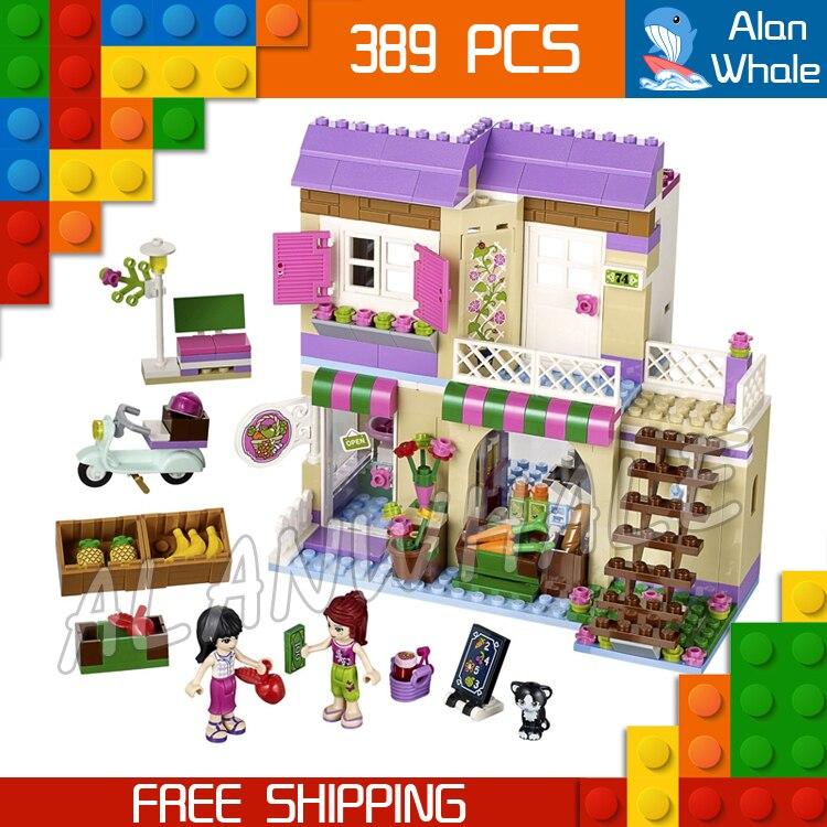 389 pcs Amis Heartlake Ville Marché Alimentaire Magasin Deux Couche Maison 10495 Modèle Building Blocks Set Jouets Briques Compatible Avec lego