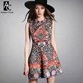 2015 diseñador de primavera y verano de las mujeres vestidos de negro blanco abalorios pecho orange azul patrón de la vendimia de moda marca linda dress