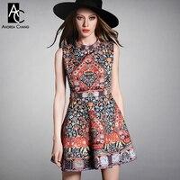2015 Spring Summer Designer Women S Dresses Black White Beading Chest Orange Blue Vintage Pattern Print