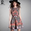 2015 spring summer designer women's dresses black white beading chest orange blue vintage pattern print fashion cute brand dress