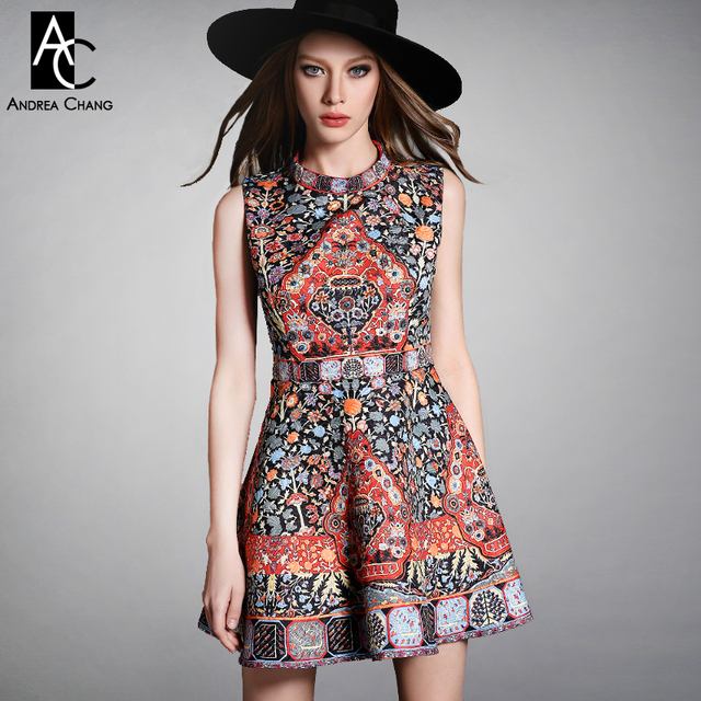845597d52d18e25 2015 Весна-осень дизайнерские женские платья черный белый бисером груди  orange синий узор печати моды