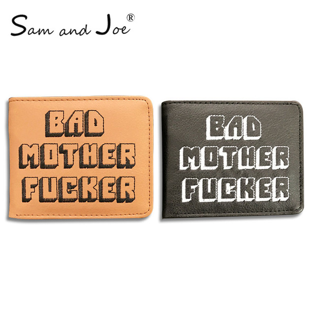 e40a1200cc5 New Pulp Fiction Jules Wallet Small Coin Pocket Bad Mother Letters Wallet  Card Holder pu leather short Purse Vintage Gift Purse