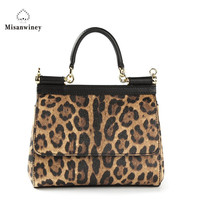 Misanwiney 2018 European Leopard Leather Luxury Tote Bags Women Bags Designer Shoulder Handbags High Quality Fashion Handbag