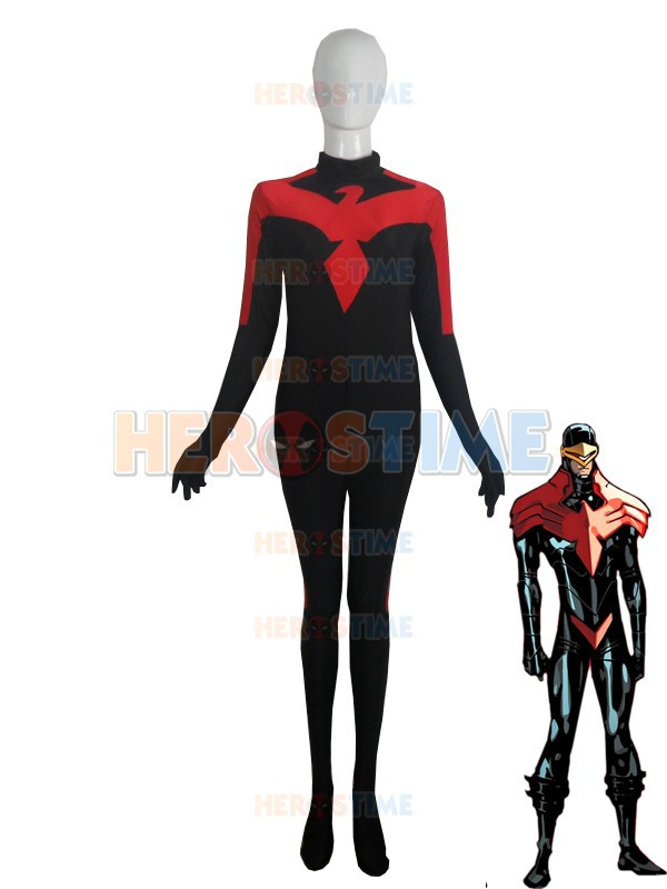 Red and black  X-men Earth-616 Cyclops Costume Phoenix Spandex Superhero Costume no hood free shipping