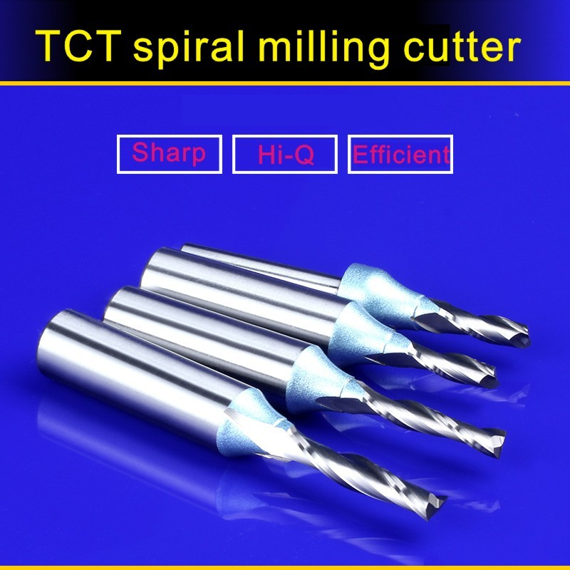 TCT Spiral Straight Woodworking Milling Cutter 1PC 1/2 12.7mm, Hard Alloy Cutters For Wood,Carpentry Engraving Tools