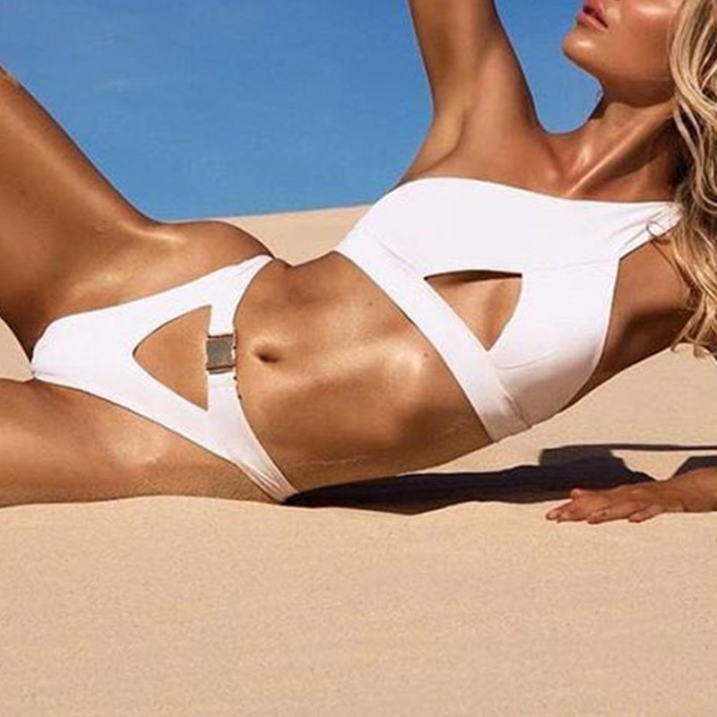 HTB1tkfRaOYrK1Rjy0Fdq6ACvVXaA In-X One shoulder bikini 2019 Buckle high cut swimsuit Sexy thong bikini Hollow out bathing suit White push up swimwear women