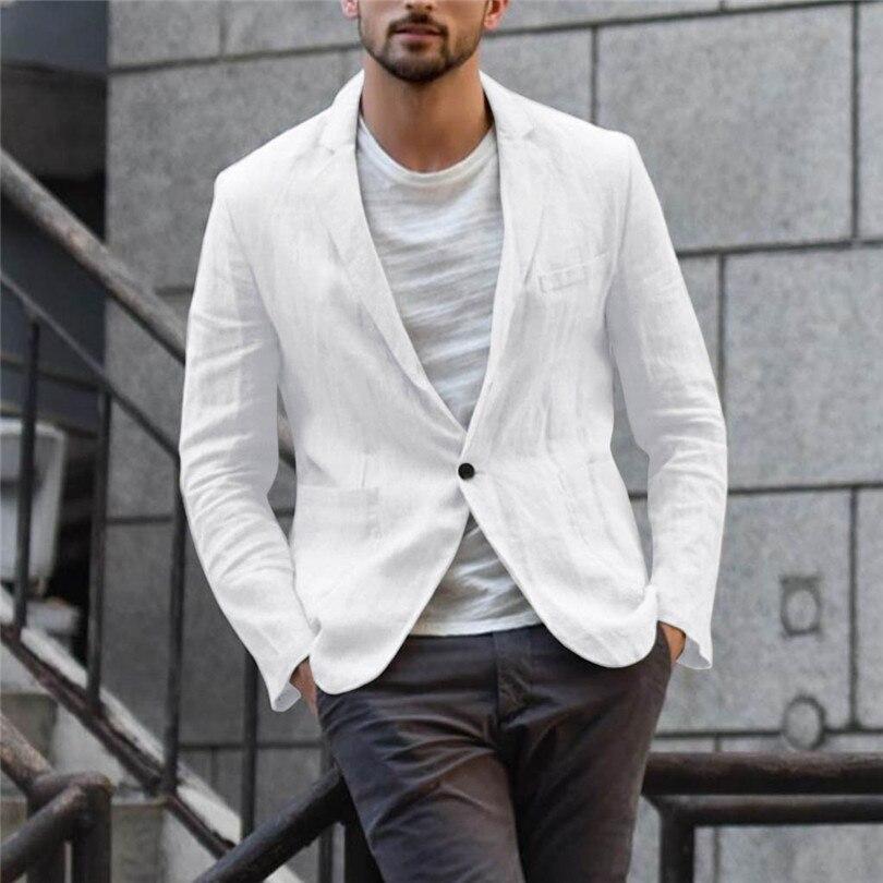 New 2019 Summer Men Slim Fit Linen Blend Casual Blazer Pocket Solid Long Sleeve Suits Blazer Jacket Outwear #E09 (26)