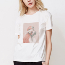 New 2019 Harajuku Flower And Girl Aesthetic Art Oil Painting Style T-shirt Fashion Personality Women White T Shirts Tees Tops