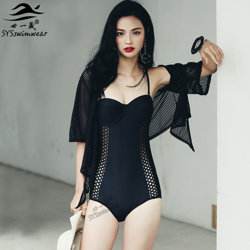 2017 New Summer Beach Retro Hollow Black One Pieces Swimwear Sexy Women Backless 2 Pieces Swimsuit Hot Girl Push Up Bathing Suit black one велосипед black one ice girl 24 2017 бело розовый 13