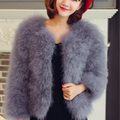 12 цветов мода sexy Страуса шерсть индейки мех 2016 шерстяное пальто перо мех короткий жакет ребенок