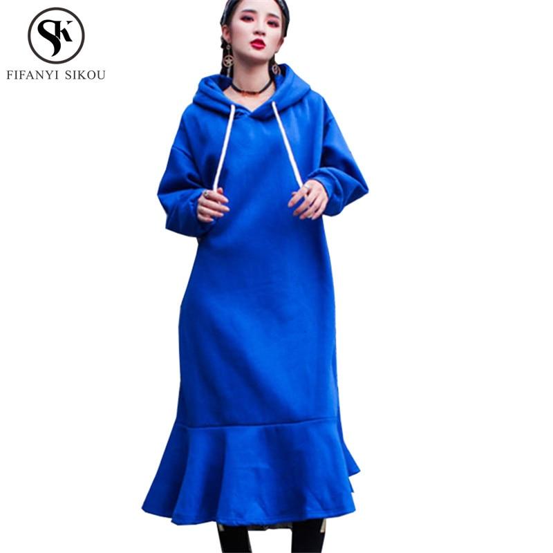 Lâche Pulls Blue Épais Couleur Long La Taille Femmes À Mode Solide Lgp787 De Capuche Automne Hiver Nouveau Hoodies Plus Sweat Chaud xoWdCrBe