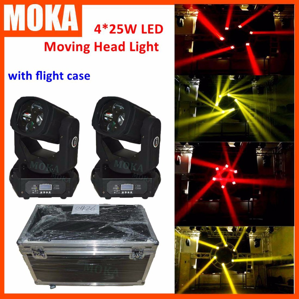 2 Pcs/lot 4*25W super beam led moving head light zoom with 2in1 flight case 130W High brightness strobe stage dj light p80 panasonic super high cost complete air cutter torches torch head body straigh machine arc starting 12foot
