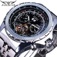 Jaragar Military Sport Automatic Self-Wind Watches Mens Silver Black Steel Band Calendar Analog Mechanical Watch Clock Relogios все цены