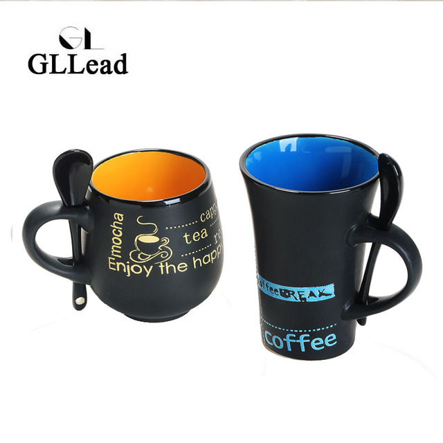 Gllead Fashion Ceramic Tea Mug With Spoon Creative New Style Coffee Mugs Home Breakfast Milk Teacup