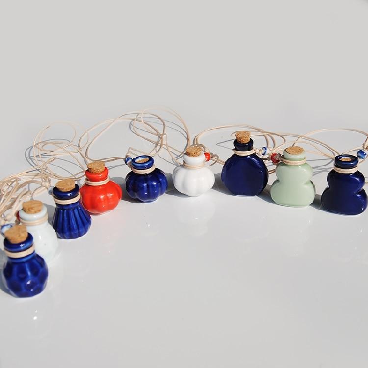 Blue/Pink Mini Coss Perfume Bottle Pendant Necklace Lady Favor Refillable Ceramic Wish Bottle Can Keep Baby Hair 10pcs/Lot P007