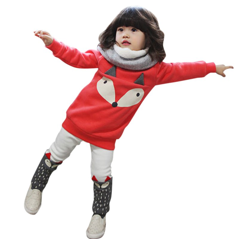 Lovely Cute Boys and Girls Red Thick Velvet Long-sleeved Sweater Suit Small Cartoon Fox Piece Shipping From US