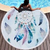 Dreamcatcher Tassel Mandala Tapestry Bohemian Round Beach Towel Bath towel Toalla Sunblock Blanket Yoga Mat Customizable