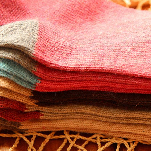 5Pairs/Lot High Quality Women Winter Vintage Rabbit Wool Socks Thicken Warm Female Fashion Patchwork Retro thermal Cotton Socks