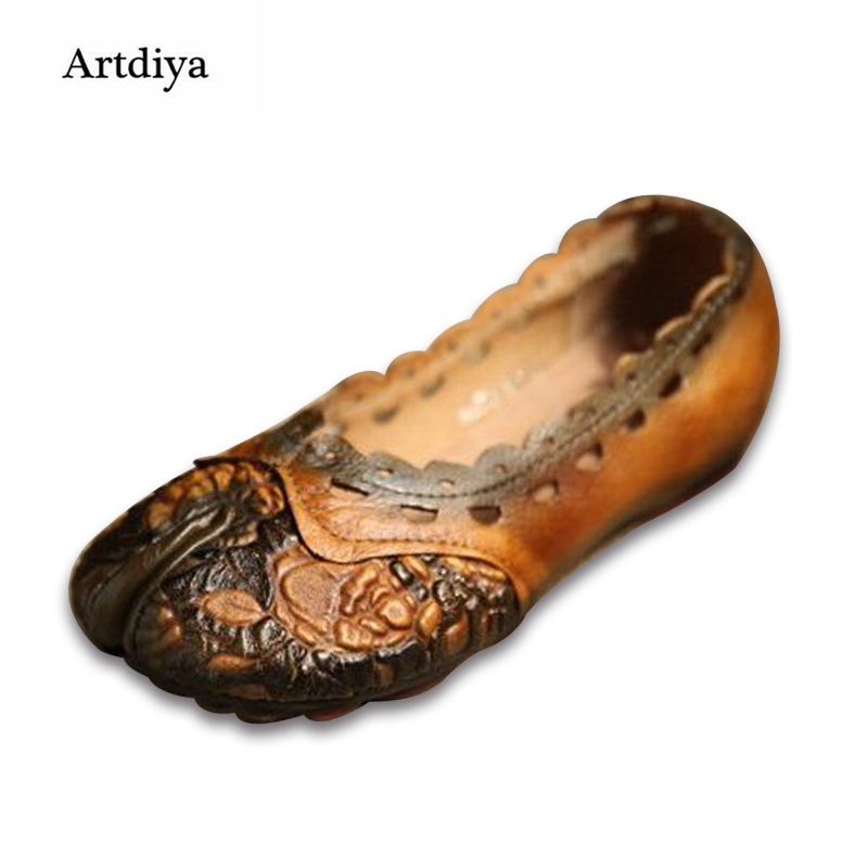 Artdiya 2018 Genuine Leather Women Shoes Pyrographic Set Foot Flat Shallow Mouth Increased Casual Retro Shoes 2028-20 xiniu flats mother shoes women retro flat heel shallow mouth solid color casual shoes flat shoes genuine leather shoes fashion
