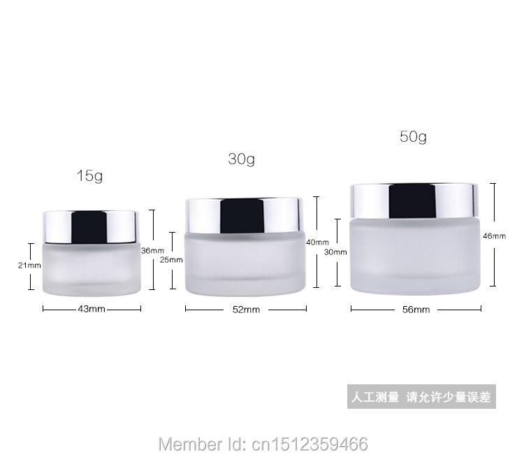 50G 50ML Frost staklena posuda sa svijetlim srebrnim poklopcem, - Alat za njegu kože - Foto 3