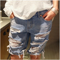 Summer Style Girl Friend 2015 Hole Ripped Casual Worn Hot Sexy Mid Waisted Denim Shorts Ladies Plus Size Jeans Shorts For Women