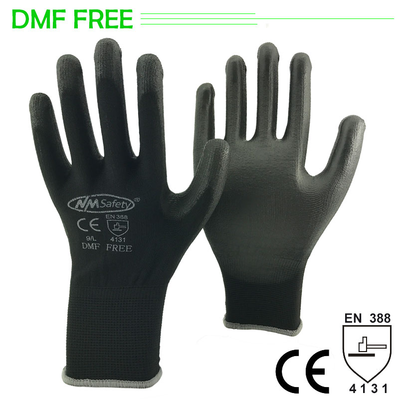 NMSAFETY PU Work Glove With 13 Gauge Knitted Safety Guantes Protective Working Gloves