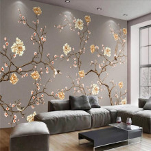 Custom wallpaper hand-painted flowers and birds art high-end TV background wall painting waterproof material