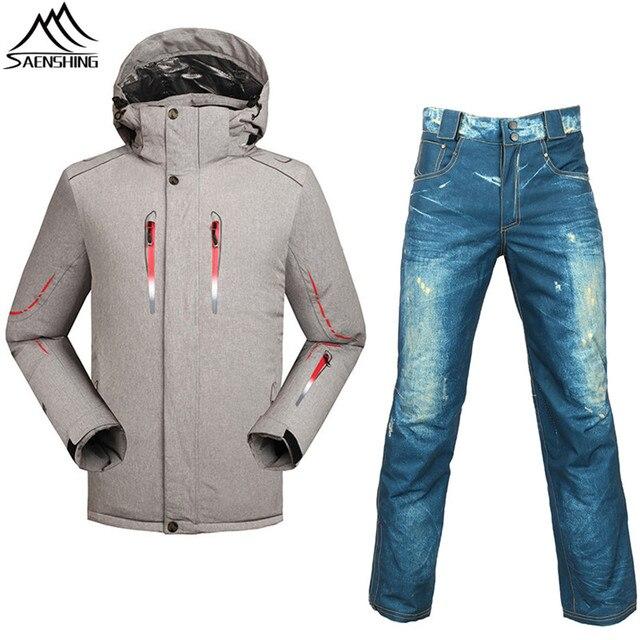 9902fa91f26 Professional skiing suits winter thicken thermal ski jacket+ski pants -30  degrees season breathable snowboarding sets plus size