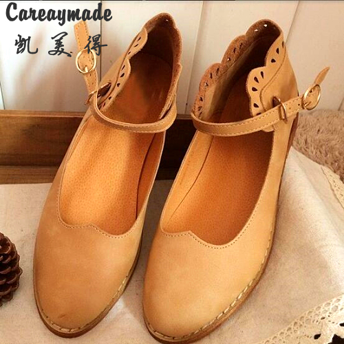 Careaymade-New 2017 Leather pure handmade shoes, the retro art mori girl hollow shoes,Women's casual Sandals,Khaki and green huifengazurrcs new pure handmade casual