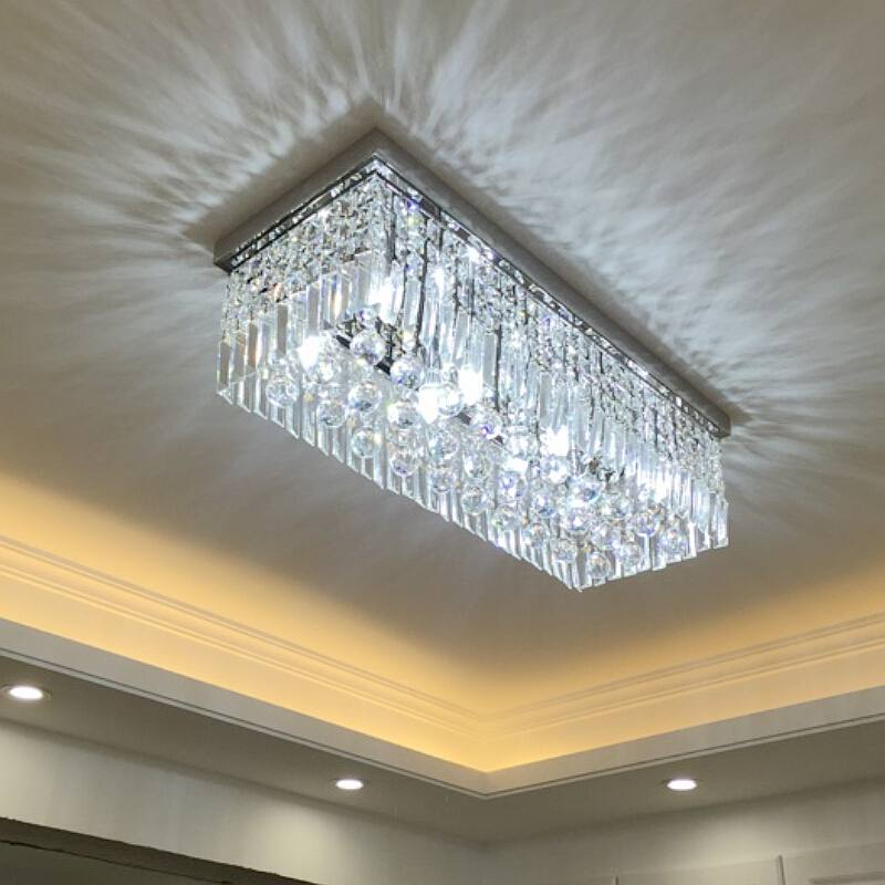 Rectangular crystal pendant lamp LED dining pendant lights dining room ceiling lamp creative dining room lighting a1 master bedroom living room lamp crystal pendant lights dining room lamp european style dual use fashion pendant lamps