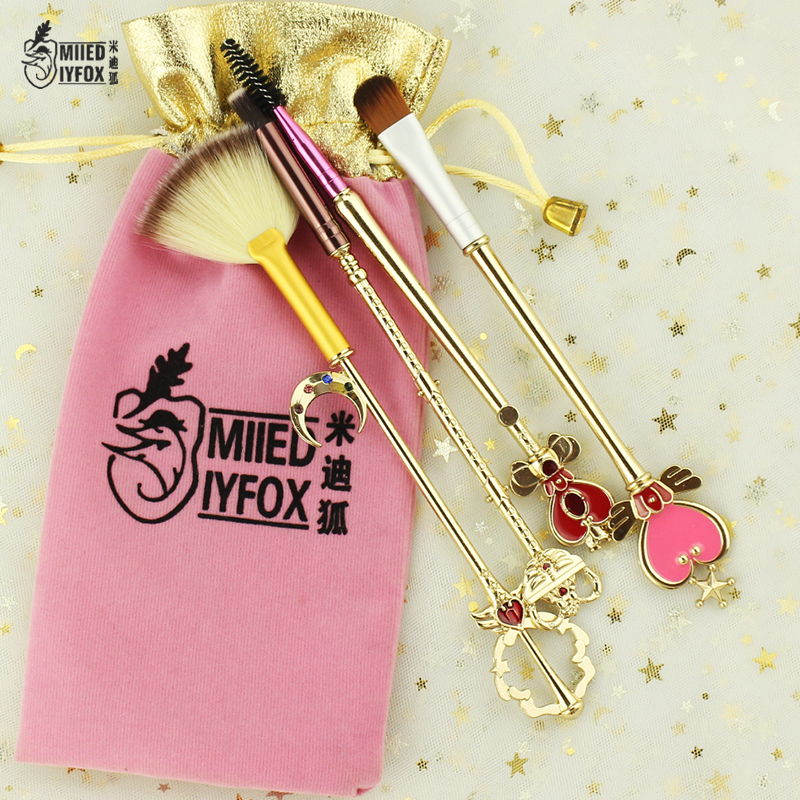 Free shipping 2 style sailor moon Cosmetic brush Makeup Brushes Set Tools kit Eye Liner Shader natural-synthetic hair hot sale sailor where sailor moon march hare lemon yellow synthetic hair cosplay wig