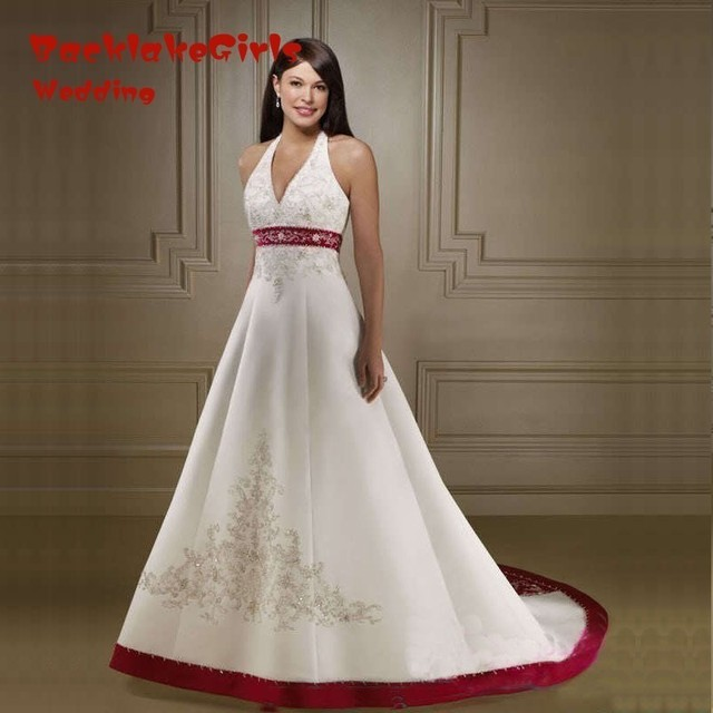 a76f7a50c0 Weeding Dress White And Red Embroidery 2018 Wedding Gowns Halter Bride  Dress Vestido Novia Lace-up Robe De Soiree Vintage