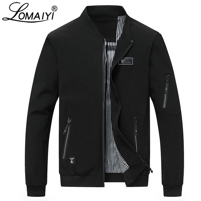 LOMAIYI Men's Spring Bomber Jacket Men Autumn Casual Coat Mens 2019 Slim Fit Windbreaker Male Black Baseball Jackets Man BM282