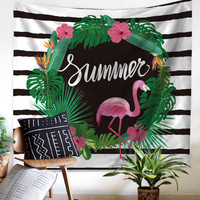 BeddingOutlet Flamingo Tapestry Animal Tropical Wall Hanging Decoration Floral Printed Pink Bedding Woman Microfiber Bed Linen