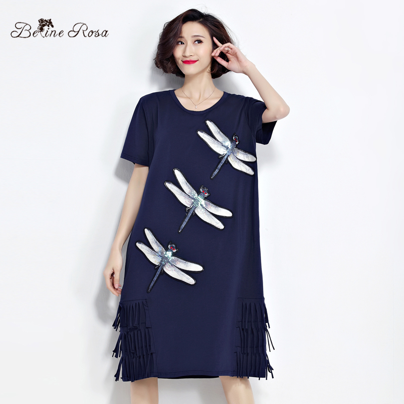 Buy Cheap BelineRosa 2017 Women's T-Shirt Dresses Summer Fashion Sequin Dragonfly Tassel Shirt Dress Women Female Fit L ~ 3XL TYW0221