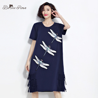 BelineRosa 2017 Women S T Shirt Dresses Summer Fashion Sequin Dragonfly Tassel Shirt Dress Women Female